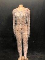 Для женщин Одежда для танцев пикантные блестящие серебряные стразы комбинезон Белый кисточкой перспектива наряд на День Рождения Празднов