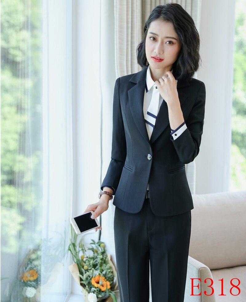 Avec Styles 2018 Pour Black Pantsuits Hiver Uniformes Formelle Costumes Noir Automne Pièce Élégant Hauts Complet Pantalon 2 Et Pantalons Femmes WYn5846Aw1