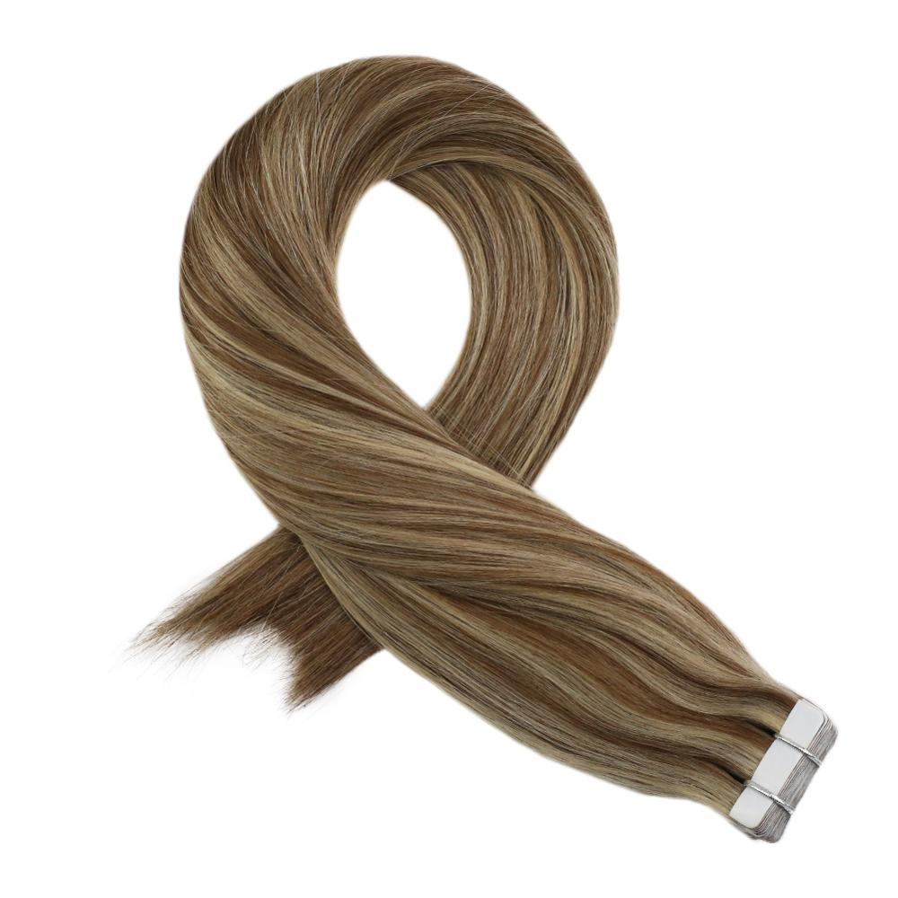Moresoo Tape In Hair Extensions Machine Remy Human Hair Highlight Color P9A/24 Glue On Hair Extensions 2.5g/pcs 14-24 Inch