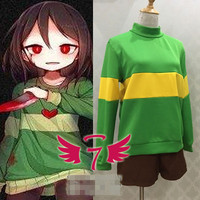 [Customize] Anime! Undertale Chara Frisk Blue Green Hoodie Cosplay Costume Healthy Fabric Sweater Custom made Size Free Shipping
