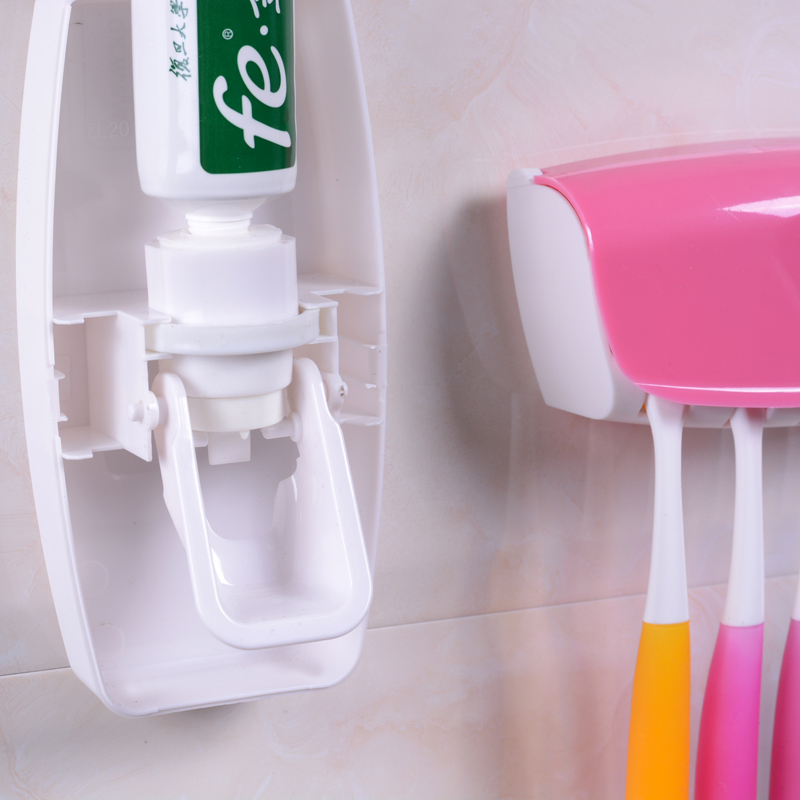 1 Set Creative Automatic Plastic Lazy Toothpaste Dispenser with 5 Toothbrush Holder 1