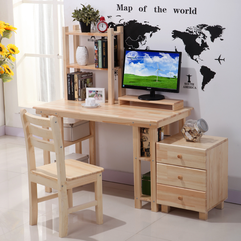 Korean child simple wooden computer desk student study - Computer and study table designs for home ...