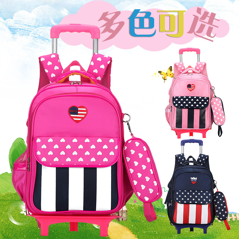 Children Pull Rod A Bag 1-3--5- 6 Years Level 6-12 One Full Year Of Life Male Girl Backpack Flash Of Light Wheel ...