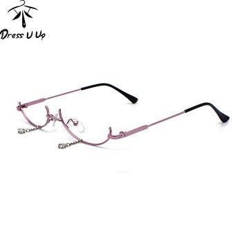 0af4f1cfd0 DRESSUUP moda No lente gafas De Sol mujer marca diseñador Semi-Montura De  aleación De plata De estilo De gafas De Sol, gafas De Sol feminino