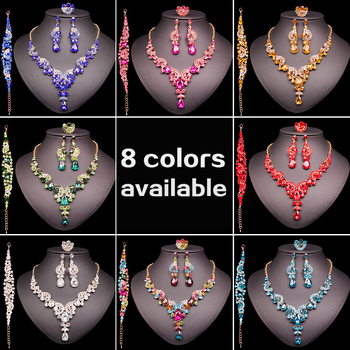 Fashion Indian Bridal Earrings Necklace Set Dubai Luxury Crystal Wedding Jewelry Sets Gold-Color Women's Costume Jewellery Gifts 1