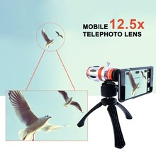 Cheaper High Quality 3in1 12.5X Manual Focus Telephoto Telescope Phone camera Lens Zoom Lens For iphone samsung with Mobile Tripod Case