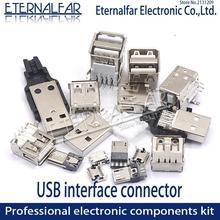 USB 2,0 интерфейс женский мужской квадратный рот микро разъем тип A B патч прямой изгиб прямой штырь сварочный провод DIY