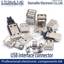 USB 2.0 Interface Female Male Square Mouth MICRO Connector Socket Type A B Patch Straight Bend Straight Needle Welding Wire DIY 10pcs usb transposon usb female a female 180 degrees socket straight leg