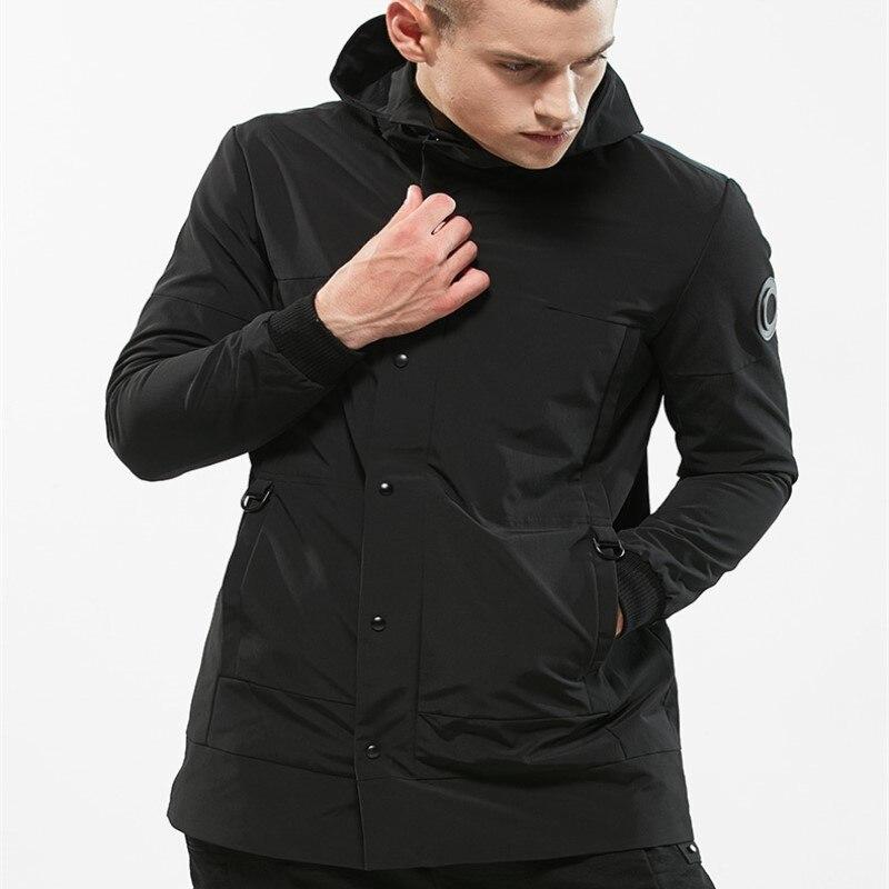 Icpans Men Jackets Waterproof Windbreaker Long Trench Coat Men Black ArmyGreen Thin Jacket Mens Hooded Coat Plus Size 3XL
