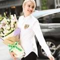2017 Primavera Camisa das Mulheres Brancas Novo Tipo Turn-down Collar Camisas de Manga Longa Tamanho Grande Mulheres Lantejoulas Assimétrica Blusa solta
