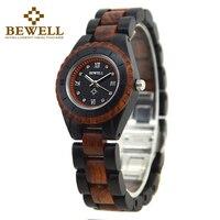 BEWELL Ladies Automatic Watch Dial Display Quartz Wristwatch Japanese Movement Original Wood Case Two tone Wood Strap 128AL