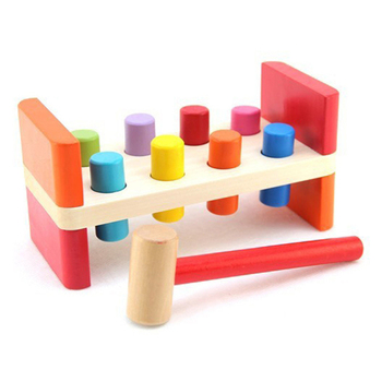 Wood Hammer Toy Pounding Bench Wooden Knock Box Kids Preschool Toys Multifunctional Tool Maintenance Box Colorful Noise Maker