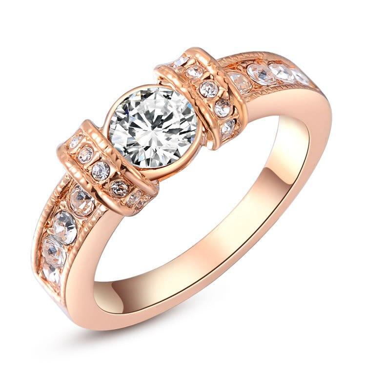 Unisex Designer Brand Fashion Cubic Zirconia Finger Jewelry Rose Gold / White Plated Austrian Crystal Ring Men Women - Eden--Dear Lover store