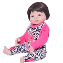 New Arrival Reborn Babies Girl 23 '' Realistic Newborn Dolls Säker Full Silikon Vinyl Body Reborn Dolls Wear Ear Cap som XMAS Gift
