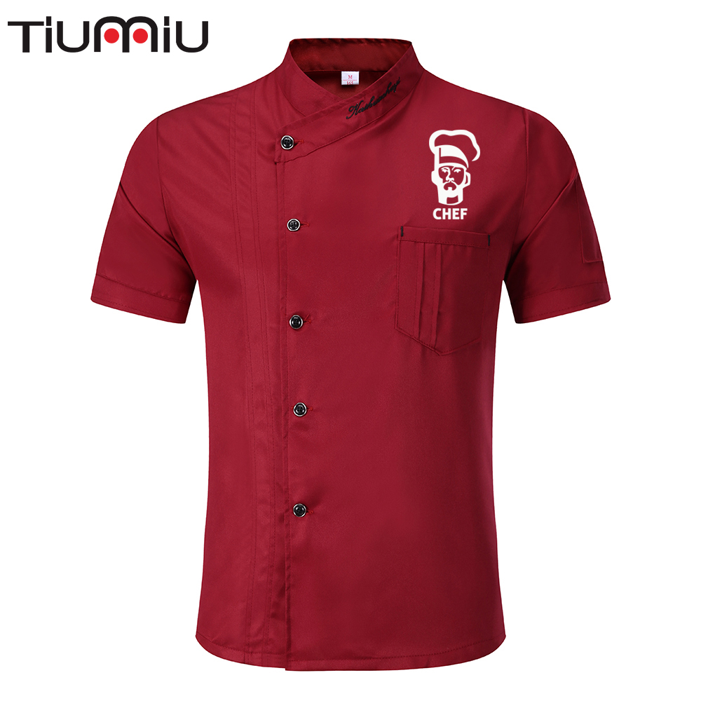 Chef Uniform Print Logo Summer Jacket Pub Bar Hotel Restaurant Kitchen Waiter Waitress Shirt Hotel Barbers Clothes Catering Cook