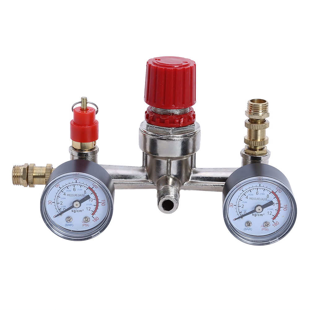 1pc Air Compressor Valve 90-120PSI Air Compressor Regulator Pressure Switch Control Valve with Gauges 13mm male thread pressure relief valve for air compressor
