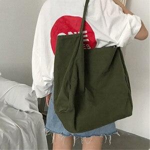 Image 5 - JIAOO Bolso de lona reutilizable para mujer, bolsas de la compra Bolso grande, bolso de mano femenino de alta capacidad, informal, bandolera de Color sólido