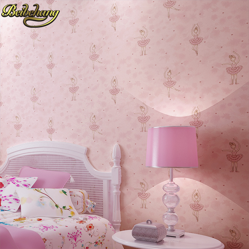 beibehang minimalist dance little girl children room TV Background Wall Paper roll Home Decoration decorative 3D wallpaper roll beibehang non woven wallpaper rolls pink love stripes printed wall paper design for little girls room minimalist home decoration
