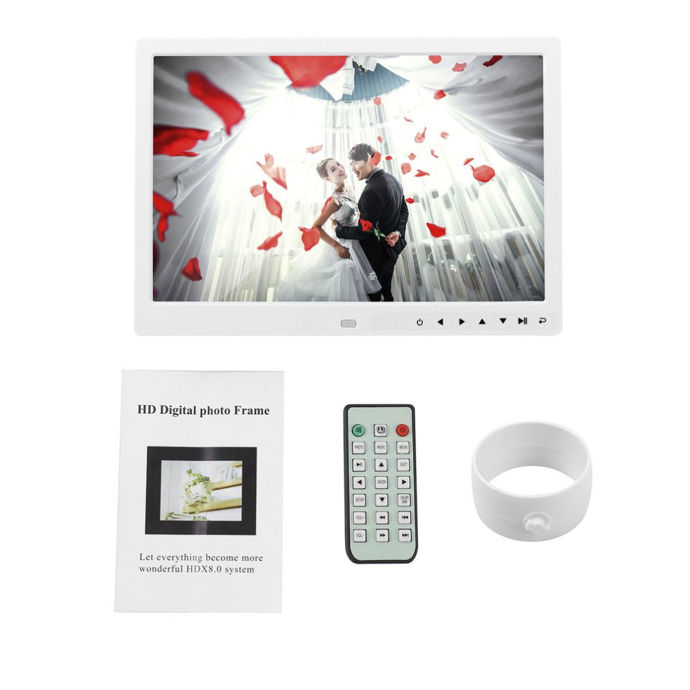 Digital Photo Frame 12 Inches Electronic Frame Front Touch Buttons Pictures Music Video Playing For Home Office Use Perfect Gift