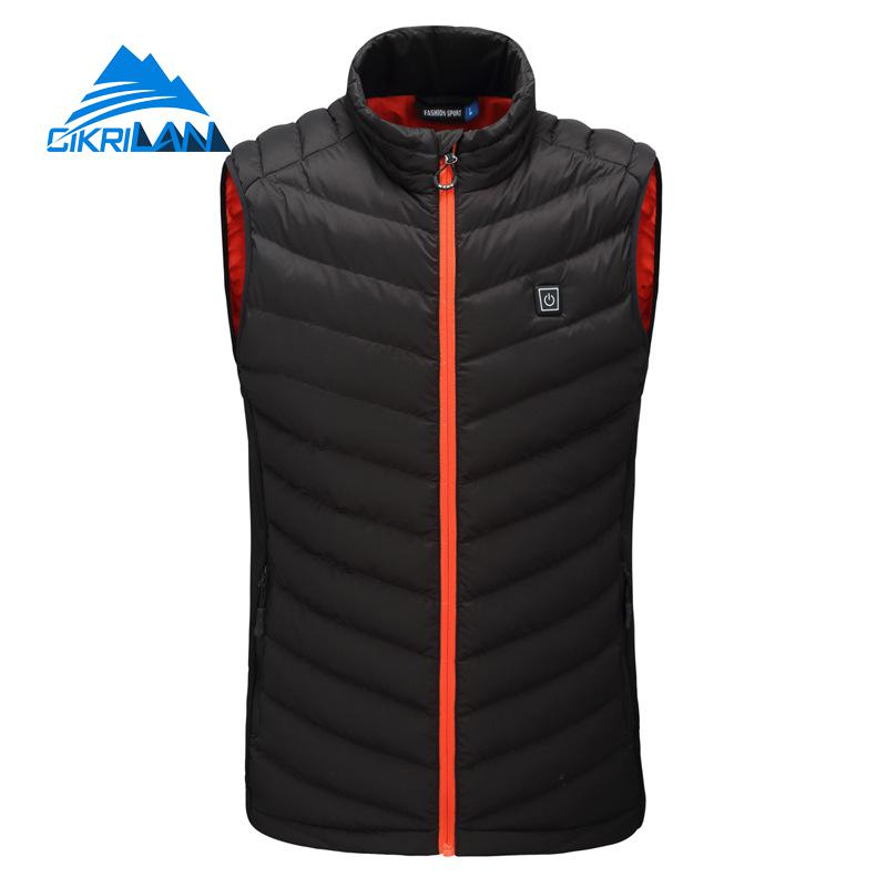 Mens Winter Outdoor Hiking Trekking Lightweight Quilted Insulated Heated Vest Men Heating Warm Waistcoat Fishing Camping Gilet