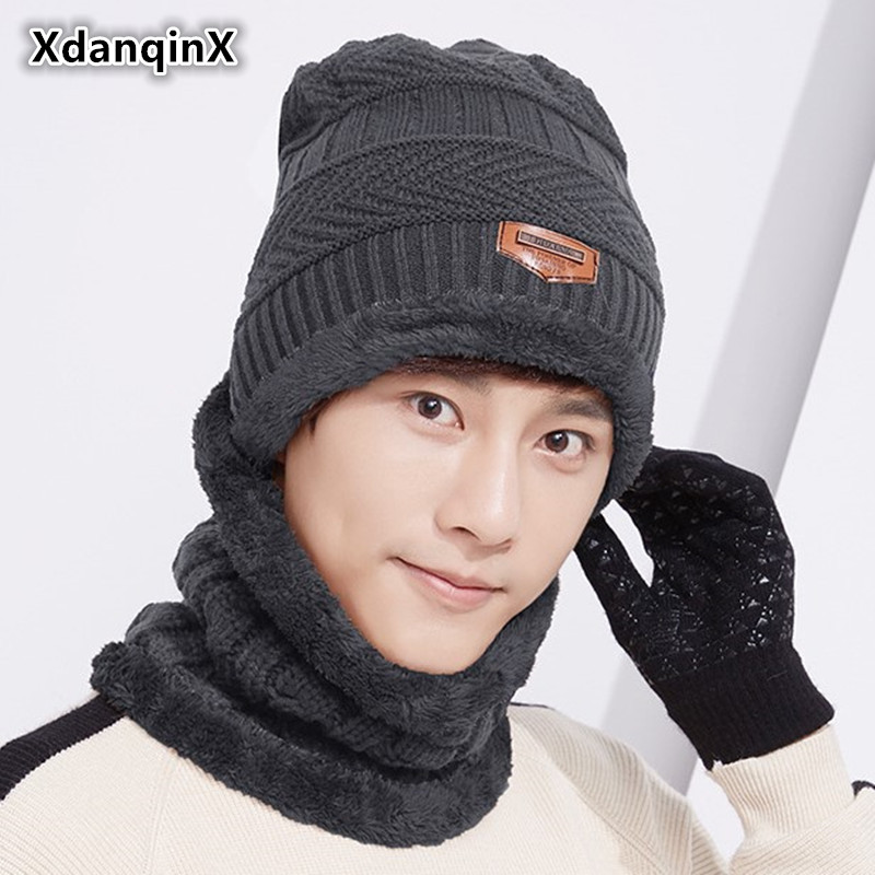 XdanqinX Winter Warm Hat For Men Knitted Wool Hats   Skullies     Beanies   Plus Velvet Thicker Ski Mask Neck Hooded Windproof Hats