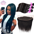 13*4 Ear to Ear Lace Frontal with Bundles Peruvian Virgin Straight Hair with Closure Human Hair Bundles Black Friday Deals