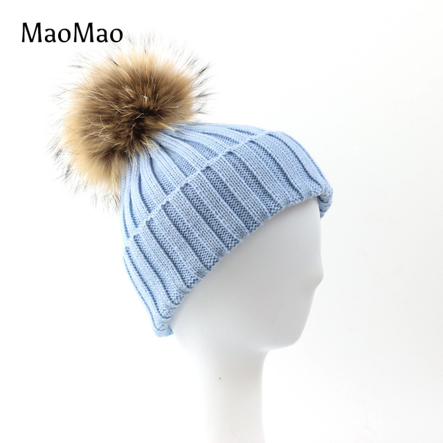 Winter Women Cap Beanie Knitted Hats Crochet Winter Hats For Cute Casual Raccoon Fur Pompom Beanies Hat Real Fur Hat-WH001-A-S-N