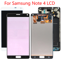Original AMOLED LCD For Samsung Note 4 LCD With Frame Digitizer For Samsung Note 4 N910F Display Touch Screen Burn Shadows