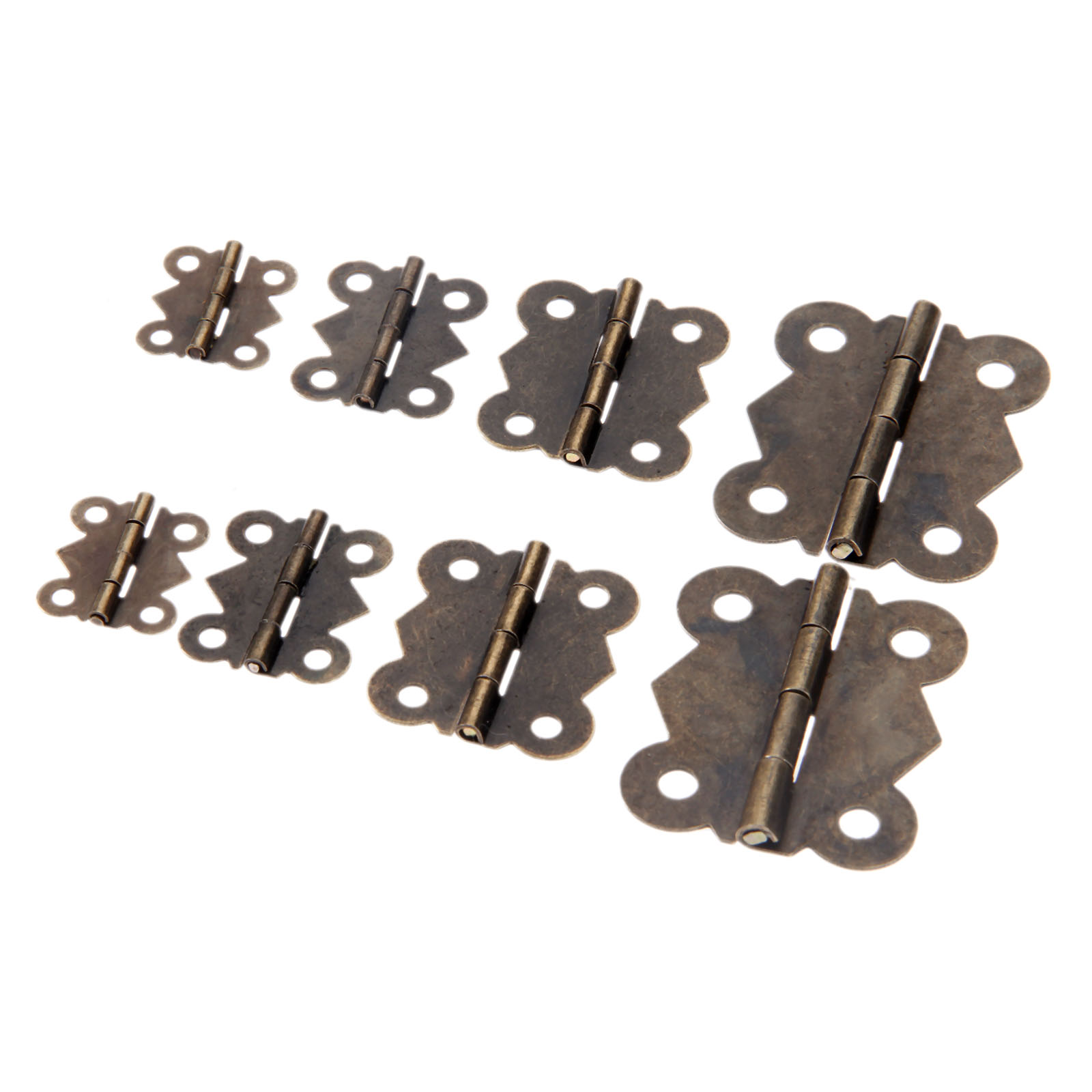 10Pcs Mini Butterfly Door Hinges Antique Bronze Cabinet Drawer Jewellery Box Decorate Hinge For Furniture Hardware with Screws in Cabinet Hinges from Home Improvement
