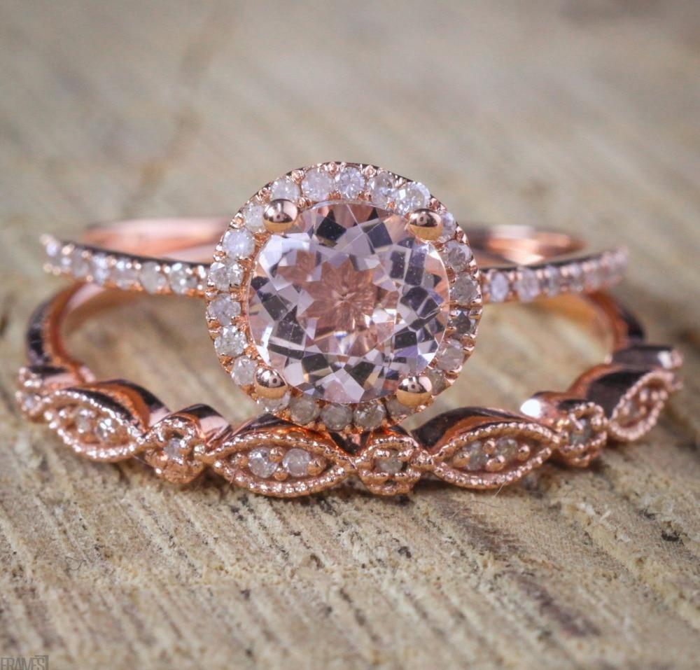 2 Pcs Set Crystal Pandora Ring Jewelry Rose Gold Color Wedding Rings F