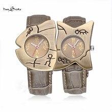 1 пара любителя Кварцевые Часы Антикварные Часы Форме Рыбы Водонепроницаемый Нержавеющей Стали Наручные Часы Кожаный Ремешок часы Мужчины Женщины