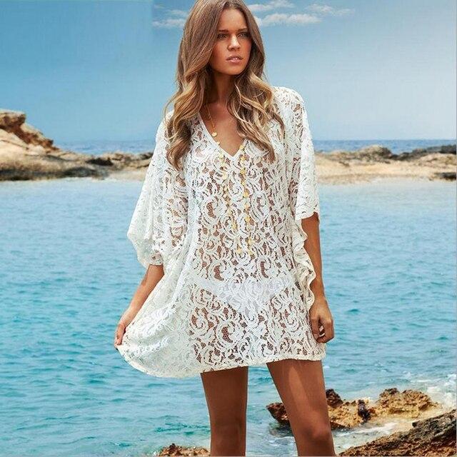 Lace Dress White Beach Vestidos Ladies Summer Dress Half Sleeve Causal Women Dresses Sexy Short Dress