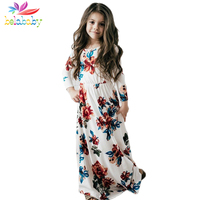 Belababy Kids Dresses For Girls Summer Beach Long Dress Leisure Maxi Long Sleeves Dress Fashion Printing