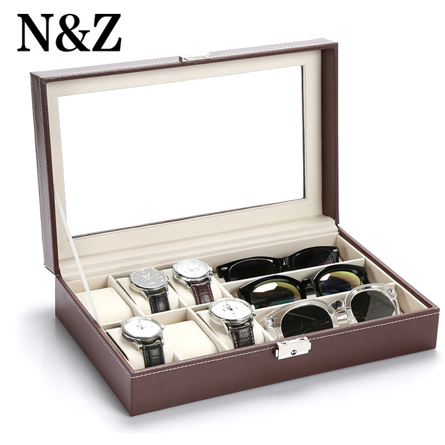 Fashion Jewelry Display Stand Sun Glasses Box Earrings Storage Box Leather  Watch Display Case Jewelry Storage