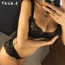 New Women Underwear Sexy Bra Set Plus Size Hollow Out Unlined Black Lingerie Set Transparent Lace Bra And Panties Set Embroidery