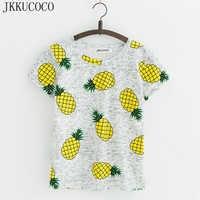 JKKUCOCO ホットスタイルパイナップルプリント Tシャツ半袖 Tシャツ女性の tシャツ夏コットン Tシャツの女性は因果 tシャツ