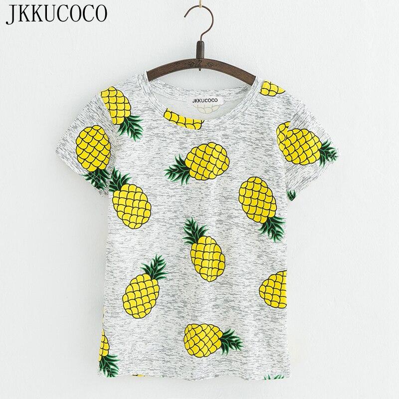 JKKUCOCO Hot Style Pineapple Print Tees Short Sleeve T Shirt Women T Shirt Summer Cotton T