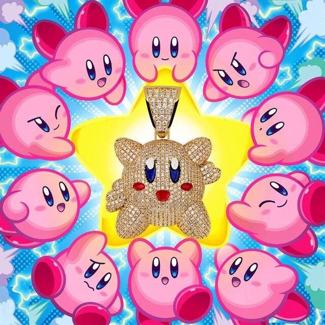 Ожерелье с подвеской 3D Kirby для мужчин и женщин, украшение в стиле хип хоп с теннисной цепью, цвет под золото, драгоценности в подарок