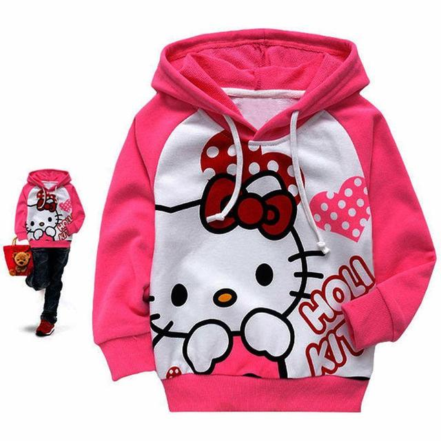 Retail 2017 Hottest girls boys hoodies Baby spring and autumn sweatshirt long sleeve Cartoon children clothes T-shirt with hat