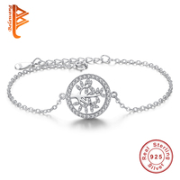 925 Sterling Silver Family Tree Link Chain Bracelet Clear Cubic Zirconia Charm Bracelet for Women Fashion Jewelry Pulseiras Gift