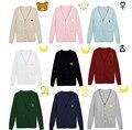 S-XXL sweaters mujeres bordado oso JK uniforme Sailor Moon femenina cardigan tejido de punto Con Cuello En V sólido suéter estudiante envío libre