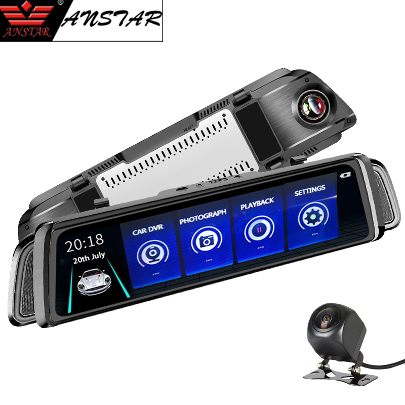 Anstar 10 3G 4G Mirror Car DVR Android Dual Lens HD 1080P WiFi Car Camera GPS Navigation Video Recorder Dash Cam Rear view DVR hyt h760 7 3g rearview mirror dvr and camera dual lens android 5 0 1080p video recorder gps navigation car detector dash cam