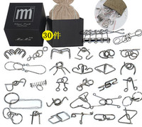 30PCS/Set Metal Wire Puzzle IQ Disentanglement Magic Brain Teaser Puzzles Game for Kids Adults