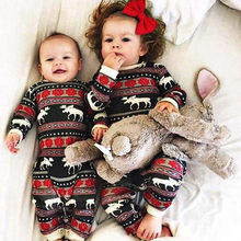 Christmas Pajamas Dress For Baby Girls Kids Boy Vestidos Toddler Baby Boy Girl Christmas Long Sleeve Deer Print Romper Clothes(China)