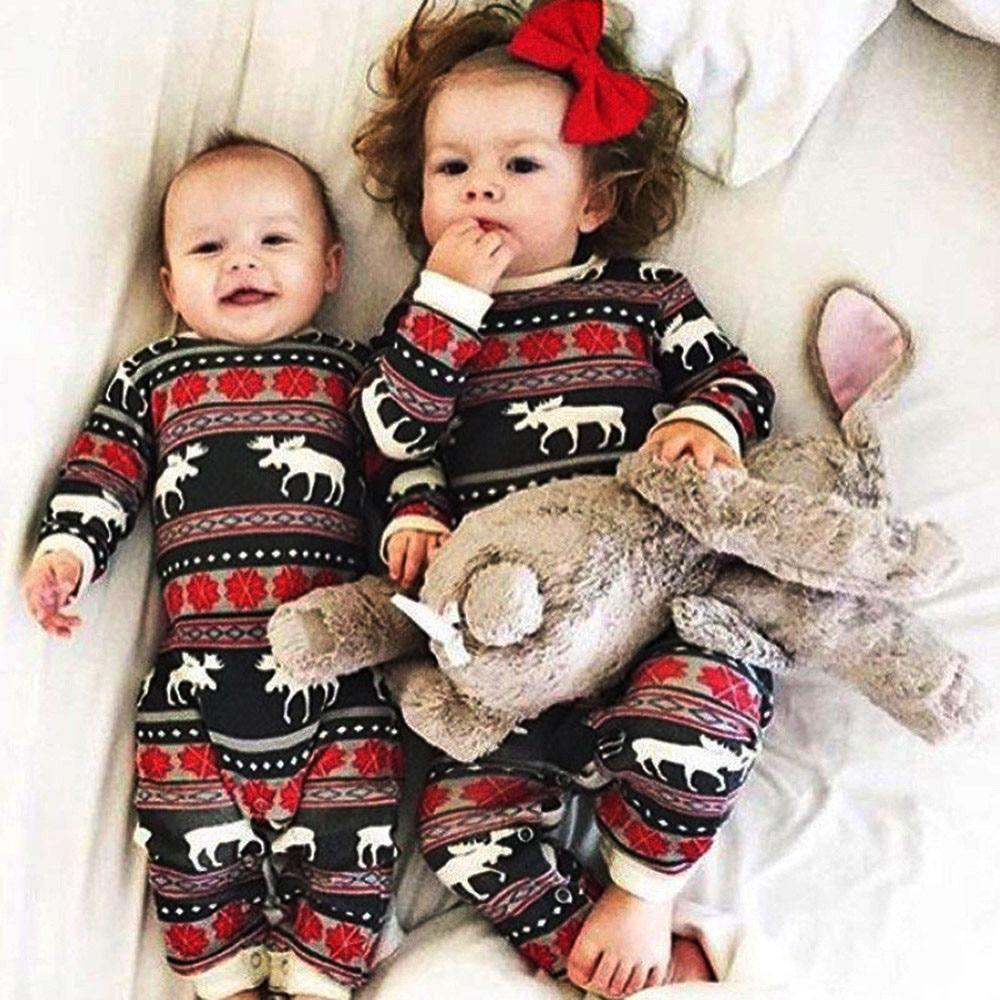 Christmas Pajamas Dress For Baby Girls Kids Boy Vestidos Toddler Baby Boy Girl Christmas Long Sleeve Deer Print Romper Clothes