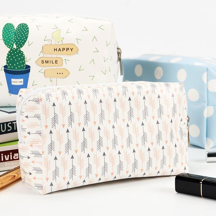 Korean Style Toiletry Bags Travel PU Leather Cosmetic Bag Women Zipper Makeup Bag High Capacity Beauty Storage Wash Bag