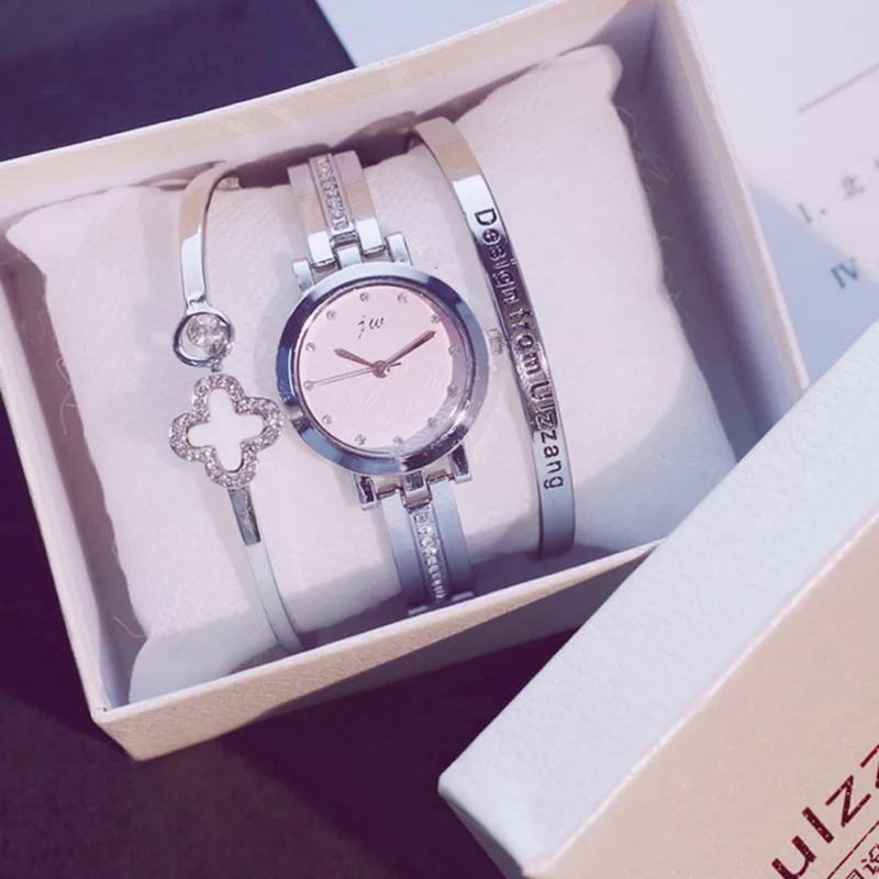 2018 de oro de moda dama reloj de pulsera de lujo de las mujeres simples relojes de pulsera Casual elegante mujer regalo reloj de 3 piezas conjunto Ulzzang estilo