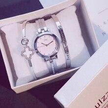 2018 Fashion Gold Lady Wristwatch Luxury Simple Women Bracelet Watches Casual Stylish Female Gift Clock 3 Pcs set Ulzzang Style