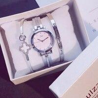 2019 модные золотые женские наручные часы Роскошные простые женские часы-браслет повседневные стильные женские подарочные часы 3 шт набор ...