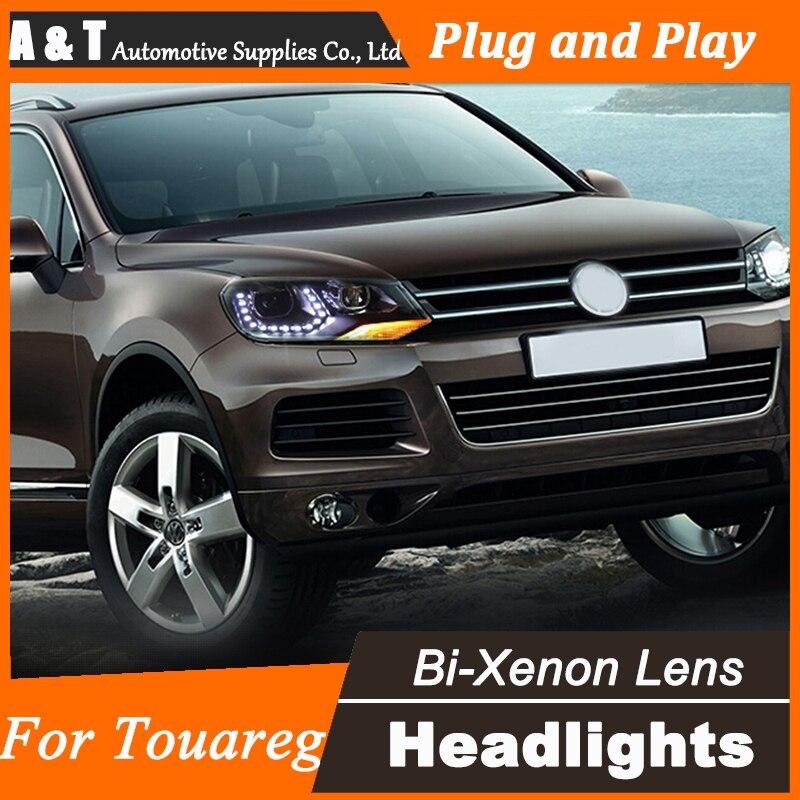 Car Styling for 2012-2014 VW Toureg Headlights LED Headlight DRL Lens Double Beam H7 HID Xenon bi xenon lens  union styling for vw scirocco headlights bi xenon led scirocco headlight drl lens double beam h7 hid car accessories hid kit